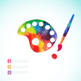 Paint brush with palette icon vector,  art palette Royalty Free Stock Photos
