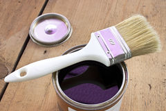 Paint brush and varnish can Stock Photo