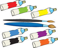 Paint tubes and brushes Royalty Free Stock Photos