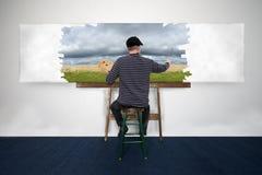 Paisaje de Paint Oil Painting del artista y del pintor en la lona blanca Fotos de archivo libres de regalías