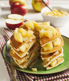 Pancakes with apple sauce Stock Images