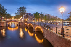 Panorama of beautifull Amsterdam canals with bridge, Holland Royalty Free Stock Photo
