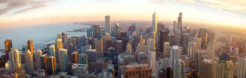 Panorama di Chicago al tramonto Fotografia Stock Libera da Diritti