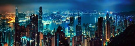 Panorama of evening hong kong Royalty Free Stock Photos