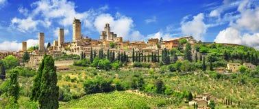 Panorama  Gimignano, Tuscany. Italy Stock Photography