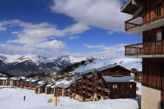 Panorama of rocks in the Alpine resort of La Plagne, France Royalty Free Stock Photography