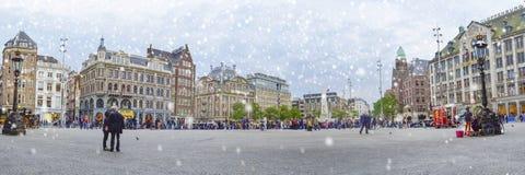 Panoramablick am Verdammungsquadrat, Amsterdam, die Niederlande, Europa Lizenzfreie Stockbilder