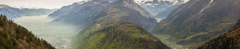 Panoramic view on Rhone valley - Switzerland. Royalty Free Stock Photos
