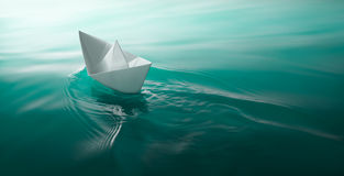 Paper fartygsegling Arkivfoto