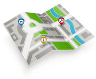 Paper map icon Royalty Free Stock Photos