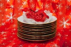 Parecchi piatti sul backround del nuovo anno Fotografie Stock Libere da Diritti