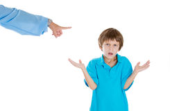 Parent pointing at child to go to room for misbehaving while kid asks what did i do? Royalty Free Stock Photography