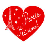 Paris, heart, hand drawn illustration Stock Photography