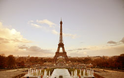 Paris sepia cityscape with Eiffel tower Royalty Free Stock Photos
