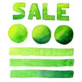 Parlez l'ensemble d'aquarelle de vert de vente de bulles, de bannière et d'inscription Photographie stock libre de droits