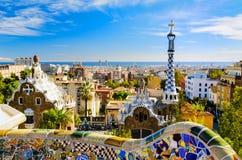 Parque Guell en Barcelona, España Fotos de archivo libres de regalías