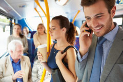 Passengers Standing On Busy Commuter Bus Royalty Free Stock Images