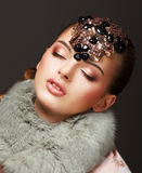 Passion. Glamorous Dreamy Woman in Fur Mantle and Jewels. Luxury Stock Photos