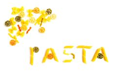 Pasta word shapes Stock Photos