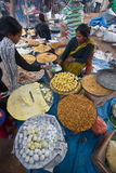 Pastries and sweet street seller on the occasion of Maghy festival, Nepal Stock Images