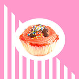 Pattern with pink muffin Stock Photo
