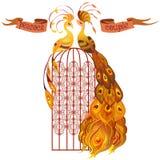 Pavos reales de los pares De oro, naranja y diseño amarillo Aislado Imagenes de archivo