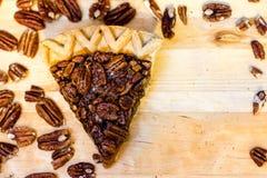 Pecan Pie Slice and Pecans Stock Photos