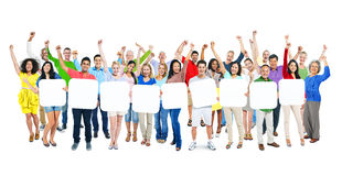 People Arms Outstretched And Holding 9 Empty Placards Stock Image