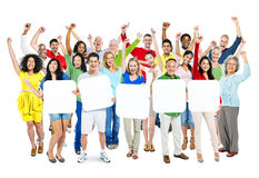 People Arms Outstretched and Holding 5 Empty Placards Royalty Free Stock Images