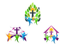 People church christian logo, bible,dove and religious family icon symbol design Stock Photo