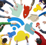 People and Colorful Social Networking Symbol Placards Royalty Free Stock Images