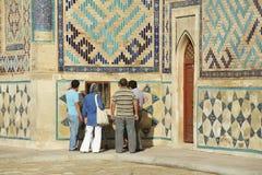 People explore mausoleum of Khoja Ahmed Yasavi in Turkistan, Kazakhstan. Stock Photography