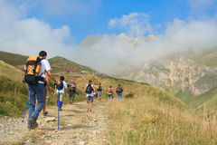People hiking in the mountain Korab Stock Images