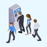 People in line in front of the ATM Stock Photography