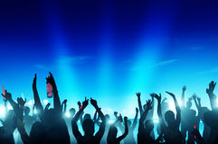 People Partying at Night by the Beach Stock Photo
