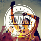 People Partying Outdoors and Summer Time Text Stock Image