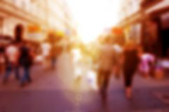 People rush on the street. Blur background, defocused. Royalty Free Stock Photography