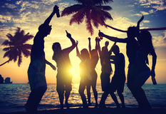 People Teenagers Summer Enjoying Beach Party Concept Stock Images