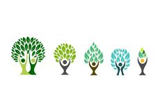 People tree logo,wellness symbol,fitness healthy icon set design vector Royalty Free Stock Photos