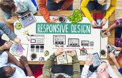 People Working and Responsive Design Concepts Stock Images