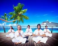People Yoga Meditation Beach Nature Peaceful Concept Stock Photos