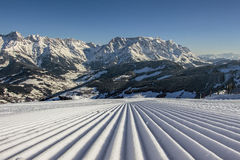 Perfect ski vacation on perfect slopes Royalty Free Stock Images