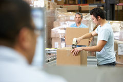 Person At Computer Terminal In Distribution Warehouse Stock Images