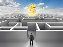 Person in front of a maze, success challenge Stock Images