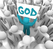 Person Holding Sign Spreading Word of God Royalty Free Stock Photos