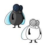Personaje de dibujos animados gordo sonriente tímido de la mosca Foto de archivo libre de regalías