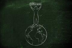 Personne tenant une bannière de paix du monde sur le globe Image stock