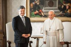 Petro Poroshenko e papa Francis Fotografia Stock Libera da Diritti