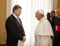 Petro Poroshenko e papa Francis Immagine Stock Libera da Diritti