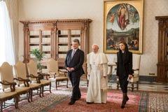Petro Poroshenko und Papst Francis Lizenzfreie Stockbilder